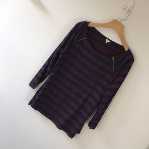 J. Crew Factory Tops - J. Crew factory navy and burgundy striped top